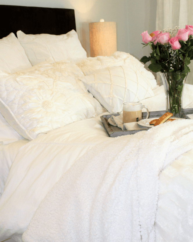 White bedding, home decor