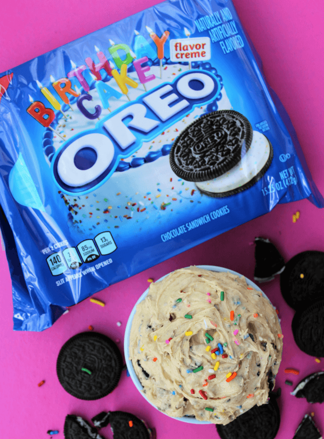 This Edible OREO Birthday Cake Cookie Dough Recipe That I Created Literally Takes 5 Minutes To Put Together Whip Up As An After School Snack
