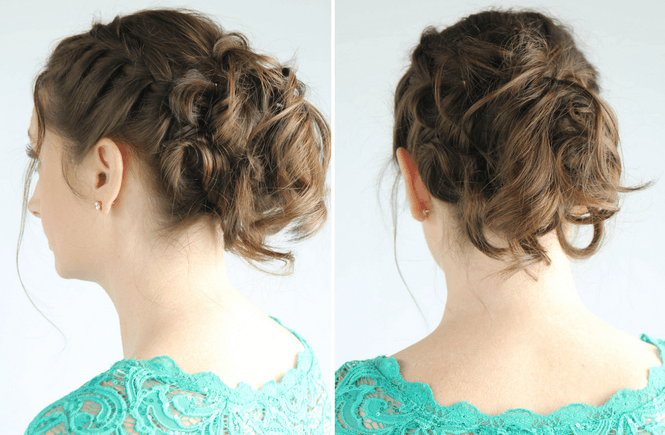 Side Braid With Messy Bun Up Do For Long Hair Leggings N Lattes