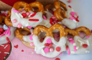 Valentine's Day Cake Batter Chocolate Covered Pretzels