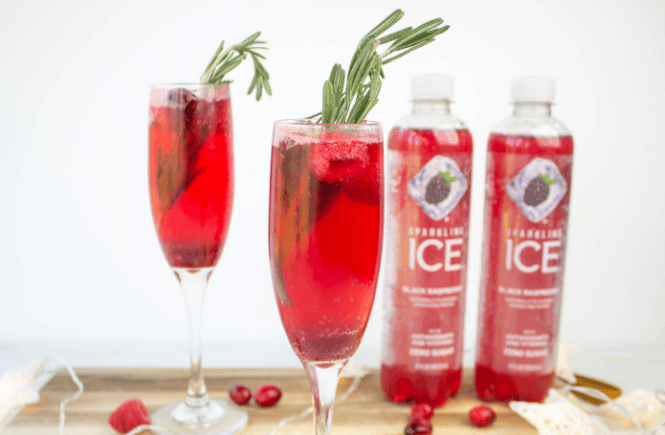 Holiday Mocktail Bellini, cranebrry raspberry drink syrup, #ad #GetFizzy #SparklingIceLife #SparklingFestivities #HolidayDrinks @SparklingIce , Holiday drinks, Holiday beverages, Holiday Cocktails, Party drinks, Party cocktails, Party beverages, Festive Drinks, Festive Beverages, Festive Cocktails, Easy holiday drinks,