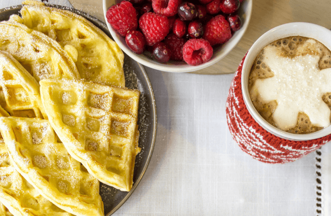 #ad, #EasySqueezy #CollectiveBias, Christmas Waffles, holiday recipe, Belgium waffles, how to make homemade waffles, homemade cranberry syrup, family Christmas traditions, Christmas morning