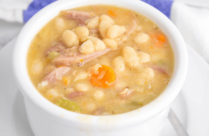 leftover ham recipe, ham and bean soup, crockpot ham and bean soup, slow cooker recipe, bean soup, comfort food