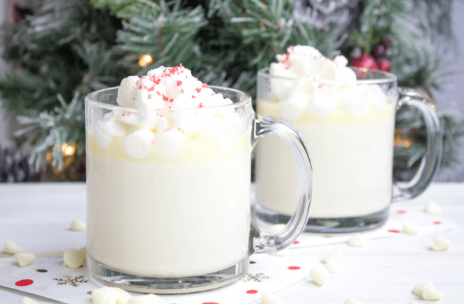 White Chocolate Hot Cocoa, hot chocolate, christmas hot chocolate, hot winter drink, chocolate recipe