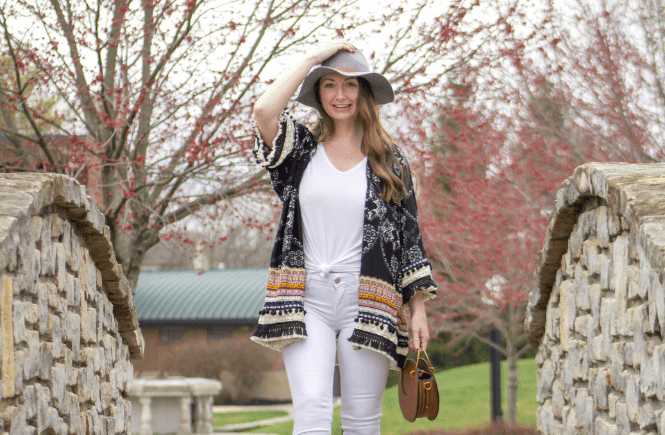 How to Wear a Kimono and White Jeans , kimono, outfit with white jeans, mom style, mom outfits, spring style 2019, style a panama hat, affordable style, Amazon style