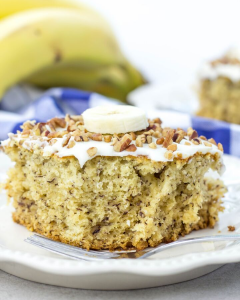 Banana Cake, banana sheet cake, how to make banana cake, cream cheese frosting, banana cake with cream cheese frosting, overripe banana recipe